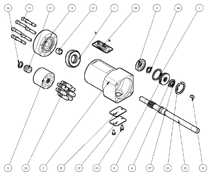 1.2. HM-202170-A HYDRAULIC MOTOR ASSEMBLY PARTS BREAKDOWN