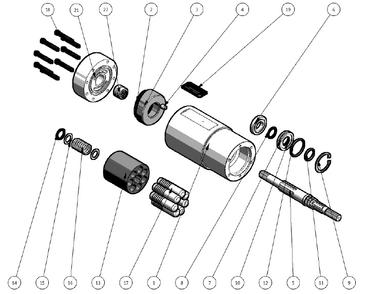 3.2. HM-202656-1 HYDRAULIC MOTOR ASSEMBLY PARTS BREAKDOWN