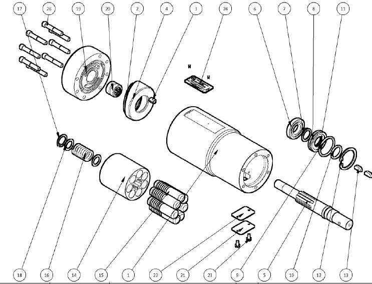 4.2. HM-202656-3 HYDRAULIC MOTOR ASSEMBLY PARTS BREAKDOWN